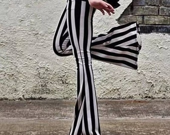 Black and white striped flared trousers - beetlejuice style Bell bottom leggings - goth fashion