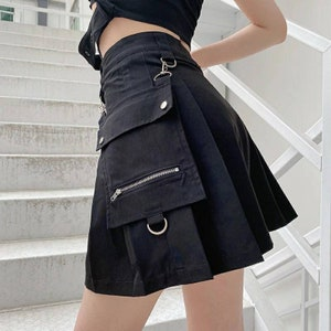 90s Black Mini Skirt Goth Mini Skirt Metal Details Shiny Faux Leather Skirt Buckle Decor Skirt High Waist PVC Details Size XS Euphoria style