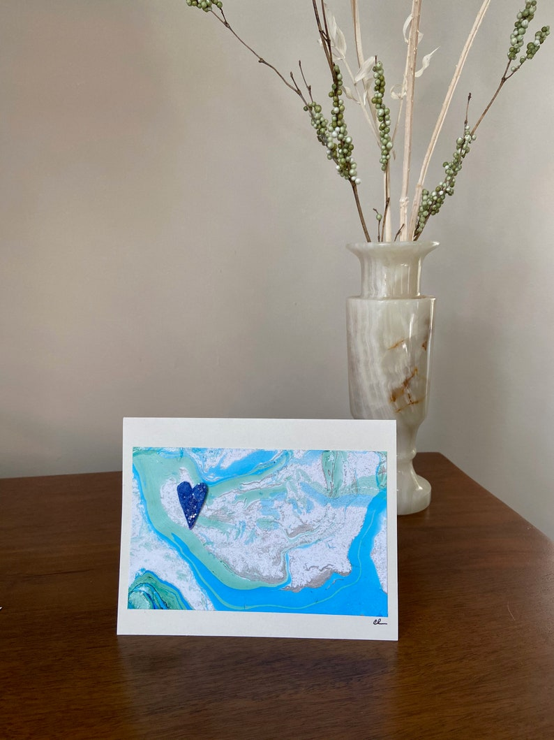 A unique Card to be gifted and Framed as Forever Art River Themed Card ~ Handmade Marbled Paper