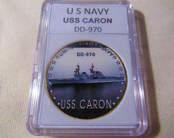USS Caron DD 970 Personalized Canvas Ship Color Photo Print Navy Veteran Gift