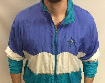 Size L Vintage 80/'s-90/'s Bolo Spirit Pastel Blues /& White Windbreaker Running Bomber Jacket
