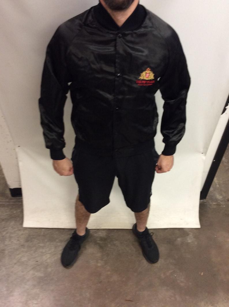 Made in USA Vintage 80/'s-90/'s Trump Plaza Atlantic City Centerpiece Classic Black Nylon Bomber Jacket Size M