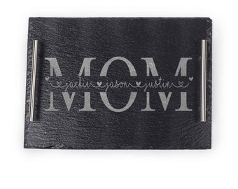 Monogram Serving Tray, Christmas Gift, Gift For Mom, Christmas Gift For Mom, Personalized Slate Cheese Board, Birthday Gift For Mom