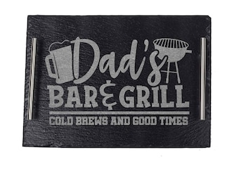 BBQ Grill Plate Gift For Dad, Personalized Grilling Platter For Dad, Father's Day Grilling Gift For Men, Bar & Grill Plate For Dad, Tray