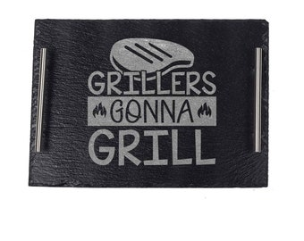 BBQ Grill Plate Gift For Dad, Personalized Grilling Platter For Dad, Father's Day Grilling Gift For Men, Grillers Gonna Grill Plate For Dad