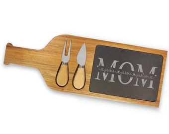 Personalized Gift For Mom, Christmas Gift, Slate Serving Tray, Wood Serving Set, Cheese Board, Christmas Gift For Her, Mom Birthday Gift