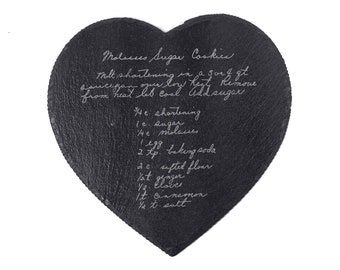 Handwritten Recipe Gift For Mom, Recipe Plate Handwritten Recipe, Christmas Gift For Grandma, Heart Shaped Personalized Recipe Platter