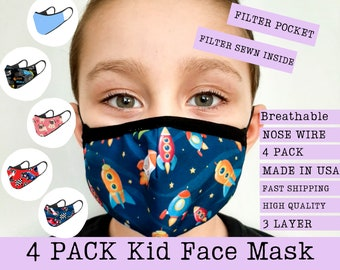 4 PACK & 2 PACK Kids Face Mask with Filter and Filter Pocket, Nose Wire, 3 Layer, Washable Reusable