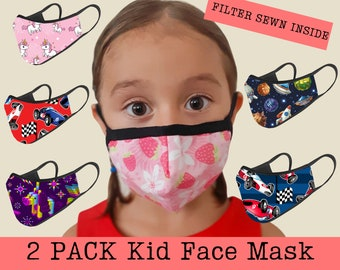 2  Pack with FILTER Sewn Inside , Kid Face Mask Pack , 3 Layer , Washable Reusable BREATHABLE , 2day Delivery