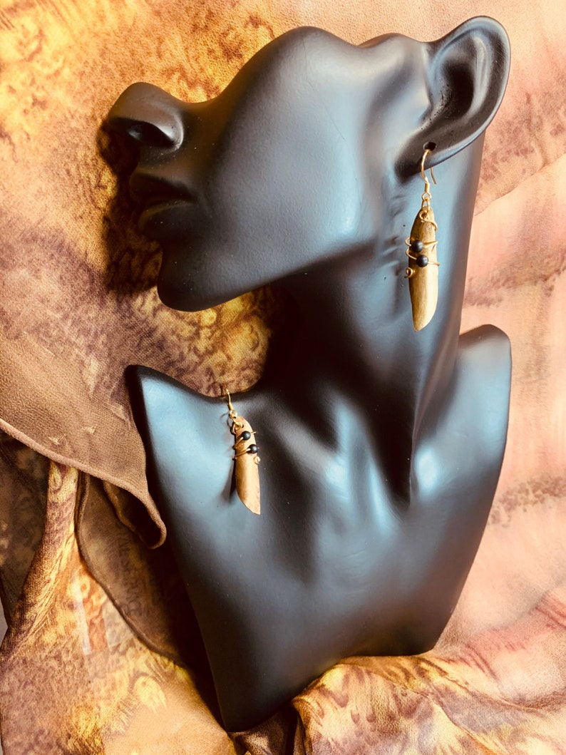 Pearls Shells Spiral Scroll Earring Mom Gift Chic Texturd Metalwork Twisted Hand Forged Jewelry She Gift Artisan Torched Hammered Brass