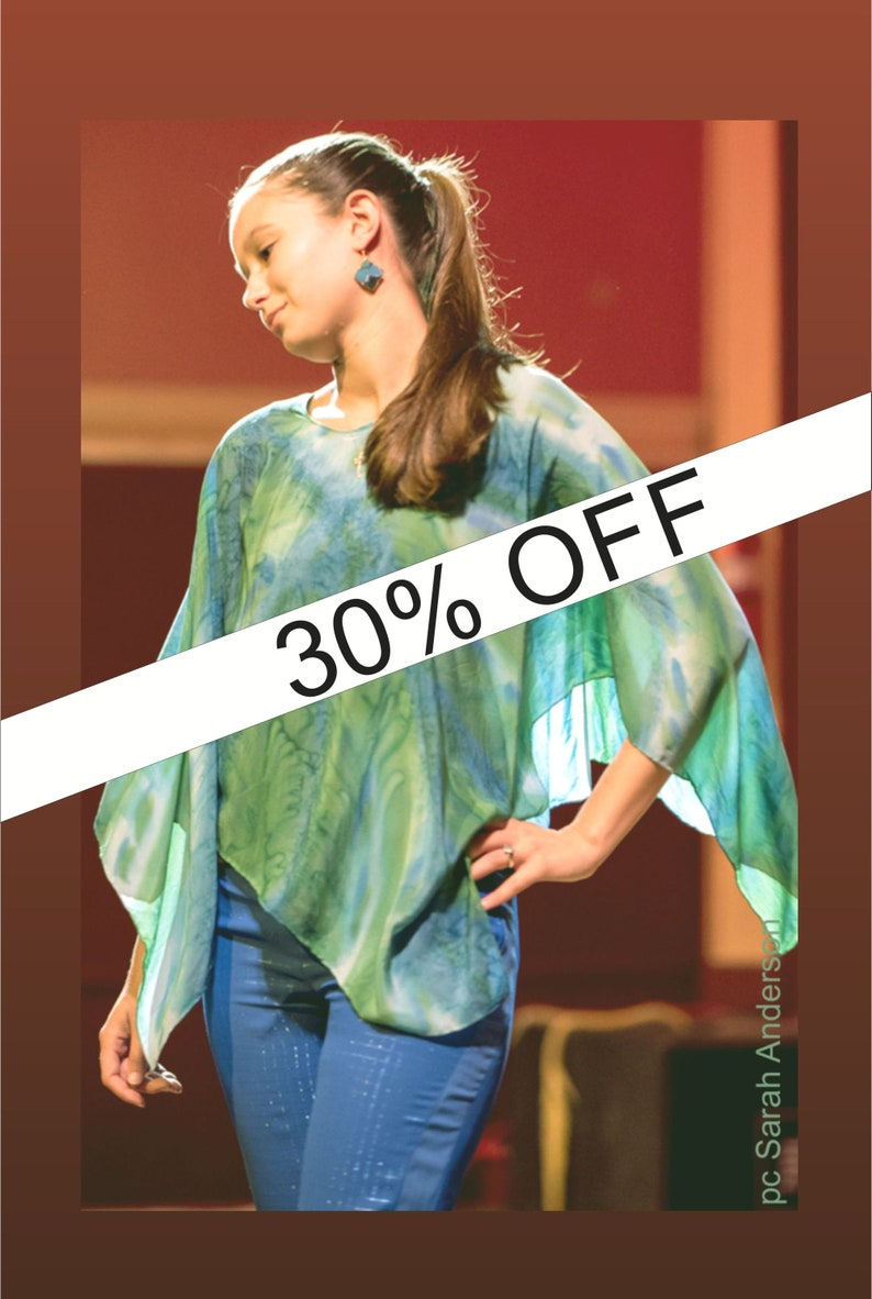 Calm Colors Light Jacket Elegant Tunic Green Ocean Vibe Silk Poncho Blue Scarf Women Resort Wrap Capelet Turquose Top Hand-Painted Shawl