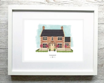 Custom House Portrait, Personalised Housewarming Gift, First Home Gift, Personalised Home Portrait, Framed Home Portrait, Home Art