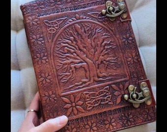 """Handmade Large 10"""" Celtic Tree Embossed Leather Blank Vintage Journal Diary - Cotpic bound EXTRA THICK, Notebook Sketchbook - Valentine Gift"""