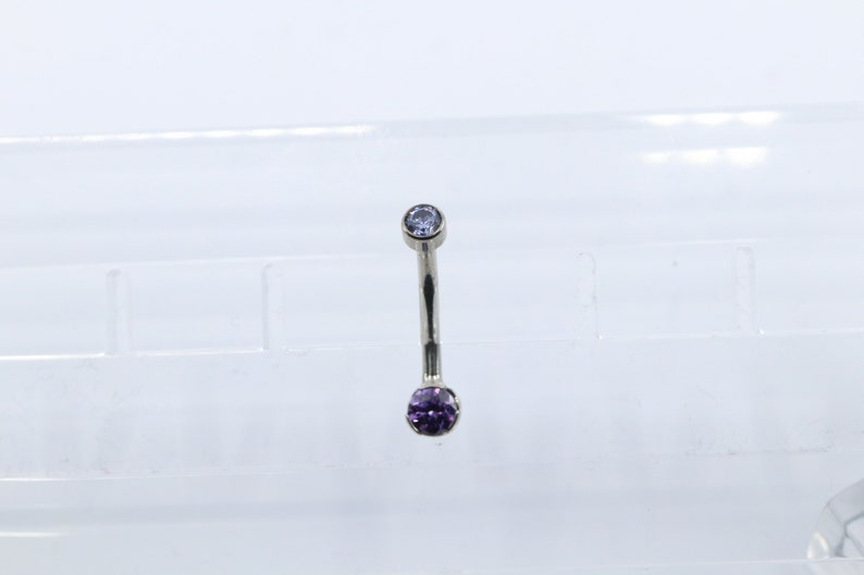 Internally Threaded Amethyst Mini Prong Navel  Belly Button Jewelry