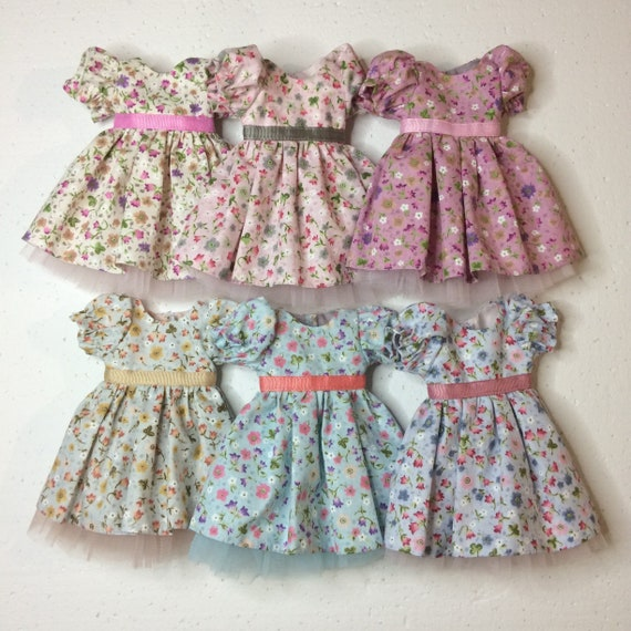 Paola Reina doll cotton flower dress with sleeves, sleeveless dress for 13 inch 34 sm dolls, Doll dress with petticoat, Antonio Juan dolls