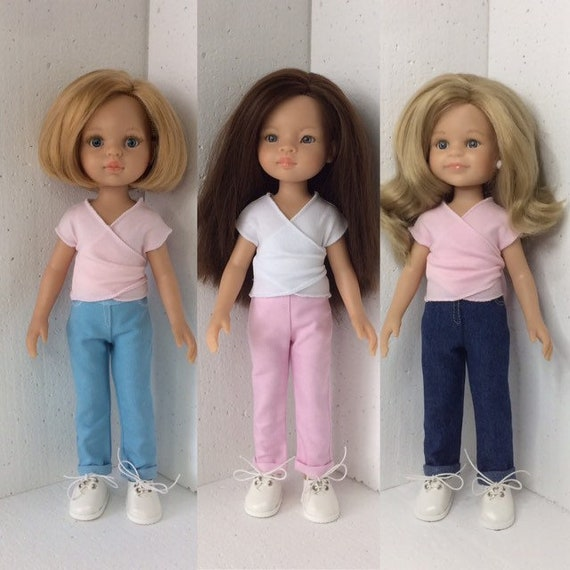 Paola Reina doll jeans, Doll pants, 13 inch doll jeans, Doll blue jeans, Doll pink jeans, adjustable waist doll jeans