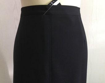 Women's Vintage 80's skirt   black straight skirt   mid calf length skirt   day or evening skirt   Size 40/42