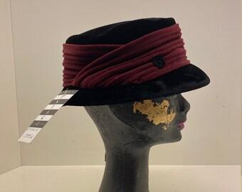 Women's 60's Vintage hat   pillbox hat   small brimmed hat   velvet hat   velvet hat   formal hat