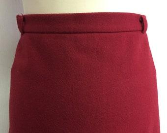 Women's 80's Vintage skirt   wardrobe basic   red wool skirt   winter skirt   lined skirt   A-line skirt   Size EU 48-50