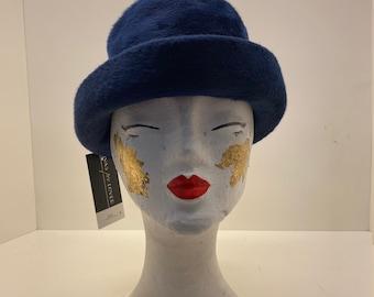 Women's 70's Vintage hat   blue felted rabbit hair   ladies trilby hat   ladies walking hat   winter hat