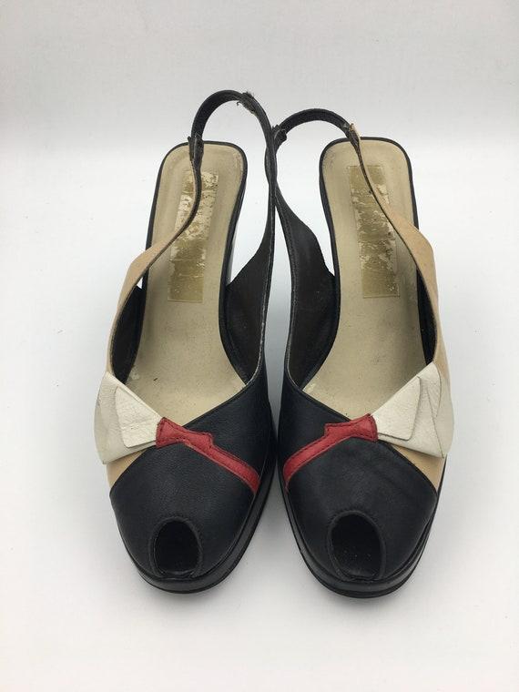 Women's VTG 70's leather platform sling back shoes