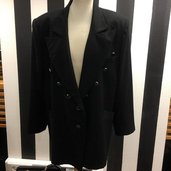 Women's 80's Vintage  blazer | Women's black wool