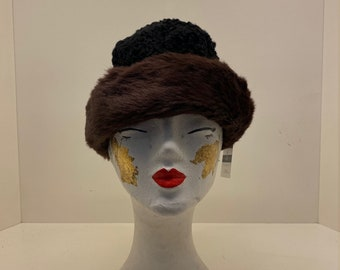 Women's 60's Vintage hat   faux fur pillbox hats   Ladies winter hat   retro winter pillbox hat