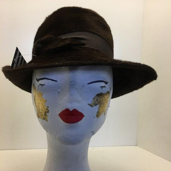 Women's 70's Vintage hat | brown woven rabbit wool