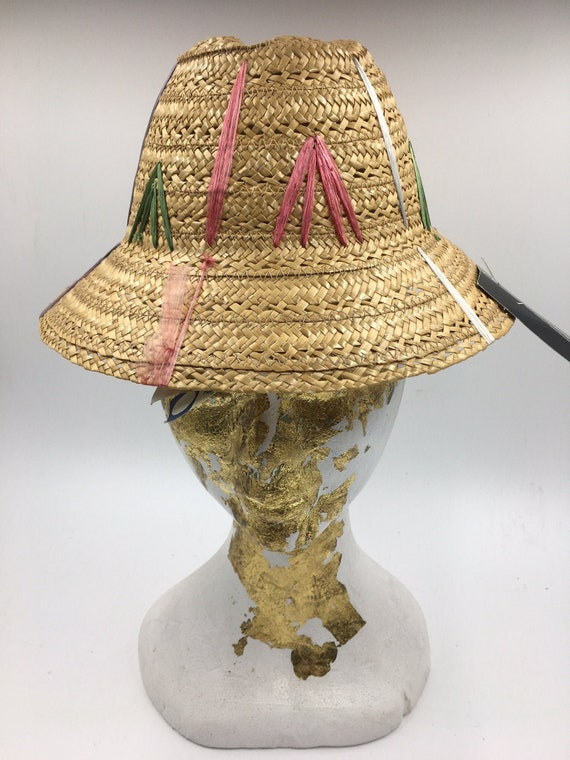 Child's 60's Vintage straw hat | straw bucket hat… - image 1