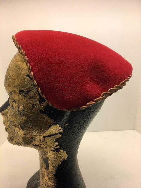 Women's Vintage 50's half hat | red wool hat | Vin