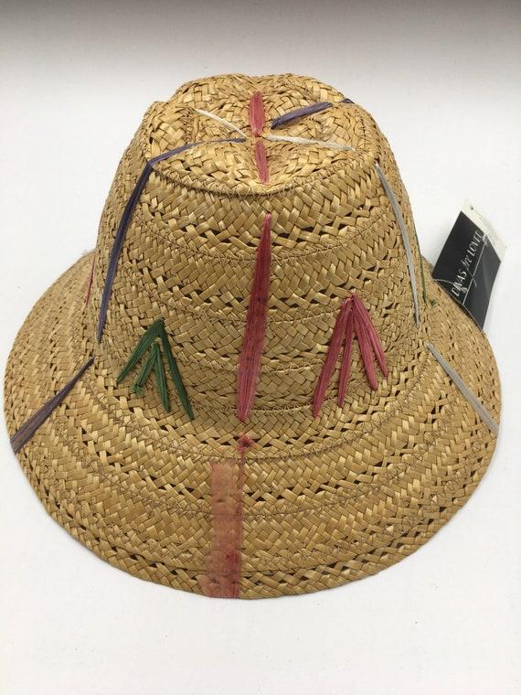 Child's 60's Vintage straw hat | straw bucket hat… - image 6