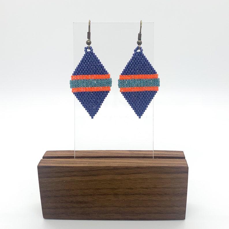 Miyuki Delica Glass Seed Bead Leaf Shaped Dangle Earring Blue Grey and Orange Luster Gift Matte Royal Blue