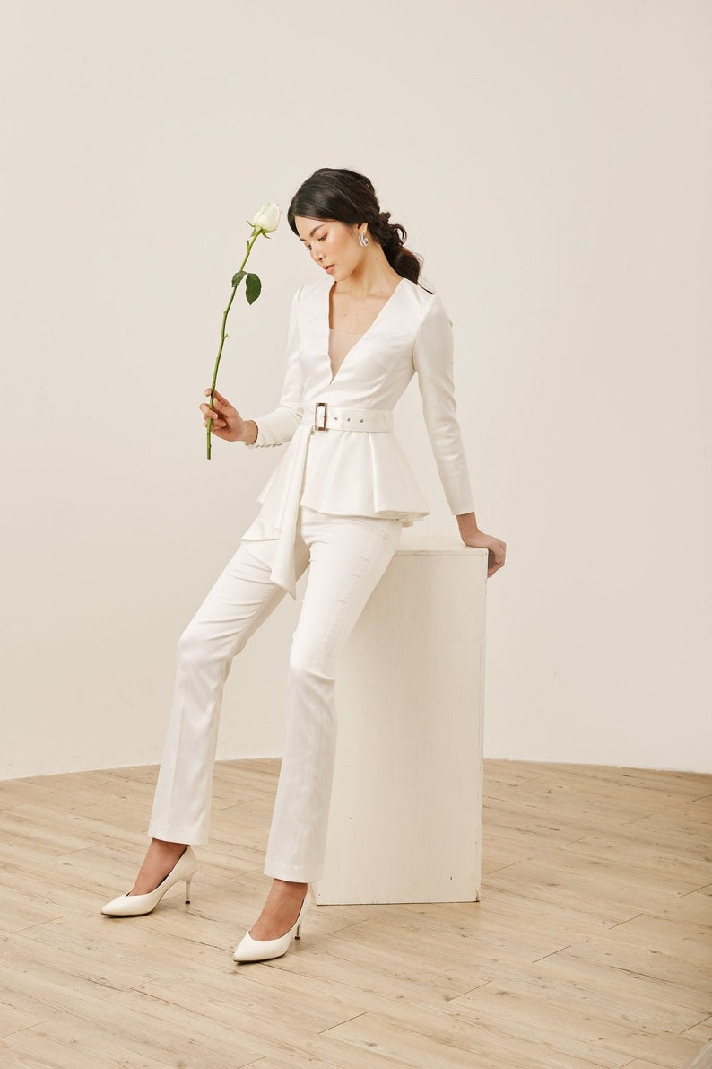Sexy & Cool Silk Satin Luxury White Bridal Jumpsuit | Stay at Home Mum