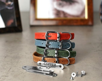 Customized Leather Cat Collar, Personalized Soft Padded Leather Pet Collars for Kittens, Boy Cat Collar, Girl Cat Collar