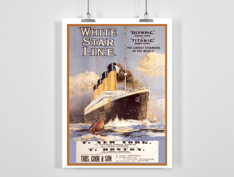 A4A3 FramedUnframed Olympic Largest Steamers in the World Vintage Advertising Poster White Star Line Titanic