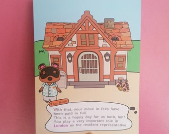 Personalised Animal Crossing Inspired New Home Card, New Home Card, Animal Crossing New Horizons, New Home, AC House, House warming