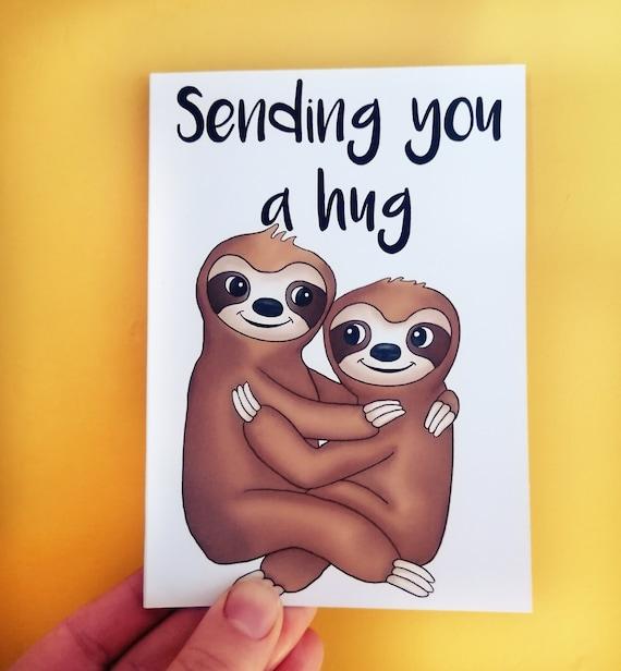 Sending a Hug Card, Sending a Hug in the Post, Sloth Card, Hugging Sloth Card