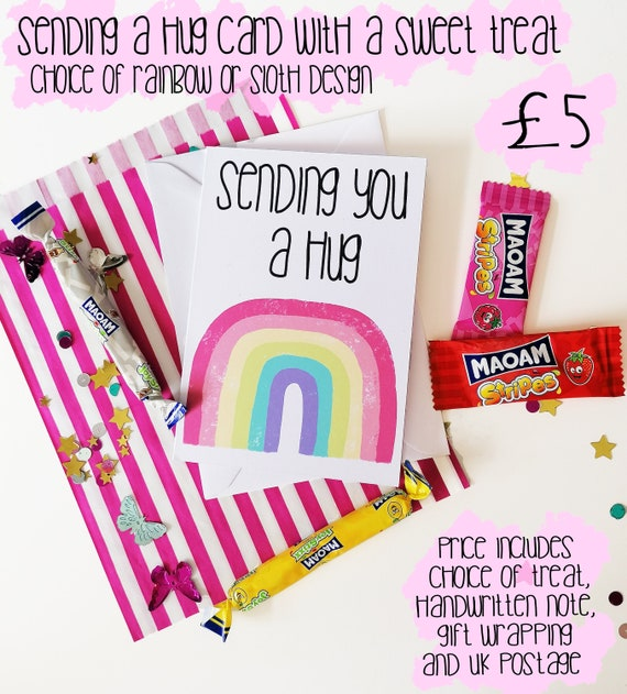 Hug and Treat Bundle, A6 Sending a hug card and sweet treat, Isolation Gift, Act of Kindness, Happy Post