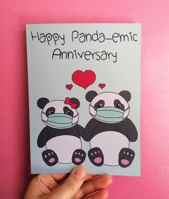 Panda Pandemic Anniversary Card, Cute Pandas,  Happy Anniversary, Panda Anniversary, Anniversary Card, Isolation Card, Covid-19 Anniversary