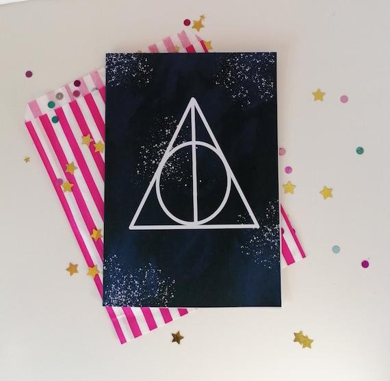Deathly Hallows Greetings Card, Magical Birthday Card, Harry Potter Inspired Card, A5 Card