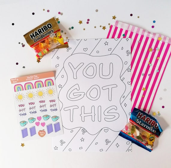 You Got This Little Box of Joy, Colouring Sheet, Sticker Sheet, You Got This, Letterbox Gift, Mindfulness, Happy Post