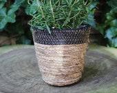 Woven natural plant pot boho plants home decor vintage pottery basket handmade unique gift planter bathroom living room wicker