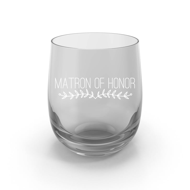 Bride Wedding Favor for your Bridesmaid Stemless Wine Glass Gift for Entire Bridal Party and Mothers Maid of Honor Matron of Honor