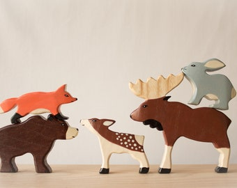Wooden Forest animals, Wooden toys, Toys for toddler, Organic wooden toys, Handmade toys, Kids gift,  Eco-friendly toys, Waldorf toys