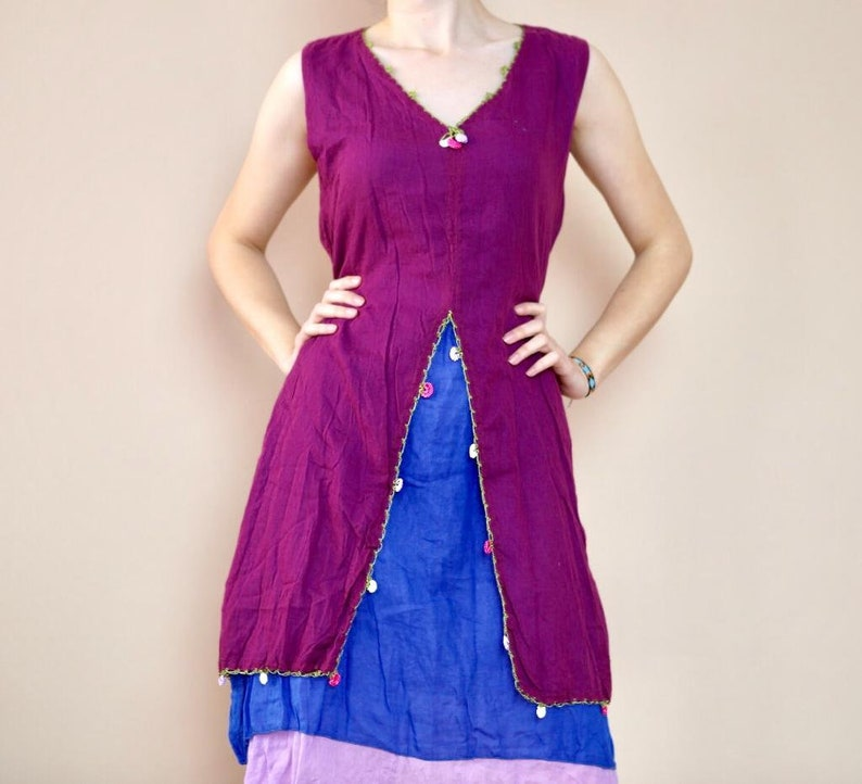 Sleeveless Dress Handmade Cotton Dress Special Design Casual Wear Purple Blue Red Dress Tutkish Pattern Ethnic Bohemian Dress