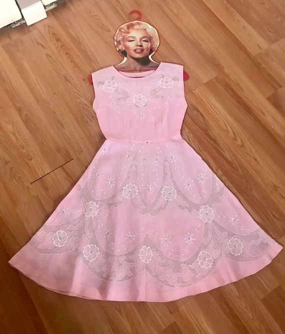 Sheer Pink Cotton 1950's Summer Dress