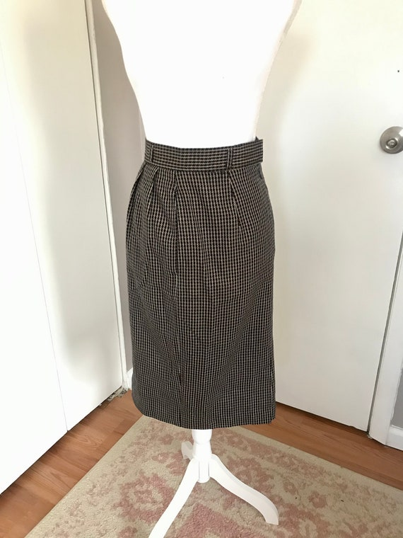 Vintage 1980's Christian Dior Plaid Pencil Skirt - image 1
