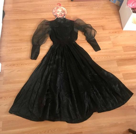 1940's Black Vamp Dress with Sheer Puffed Sleeves