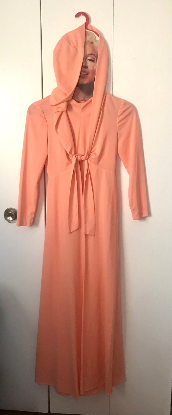 1970's Does 1930's Peach/Salmon Floor Length Dress