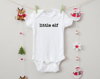 Baby Bodysuit Newborn Daddy/'s Little Elf Bodysuit Infant Monkey Holiday Jumpsuit Christmas Romper Romper